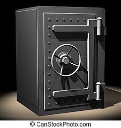 Safe04 - Rendered steel safe over black background
