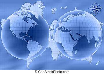 World map - East and West hemisphere of World map
