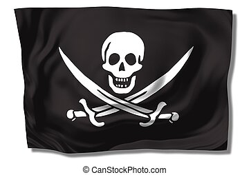 pirates\' flag - pirates\\\' flag - skull & swords on black...