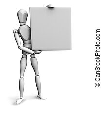 Man holding blank sign - 3D render of a wooden man holding a...