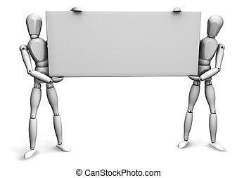 Men holding blank sign - 3D render of wooden men holding a...
