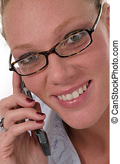Woman Cellphone 6921 - Closeup of attractive, smiling...