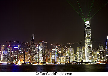 Hong Kong by night - Hong Kong Island by night photographed...