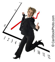 business women success expression jump with graph in...