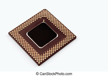 CPU Chip - A computer processor on a white background.