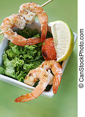 Prawn Dish - Prawns with salad and tomatoes and a lemon...