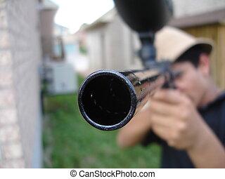 Paintball Gun Barrel - very end of a paintball gun barrel.