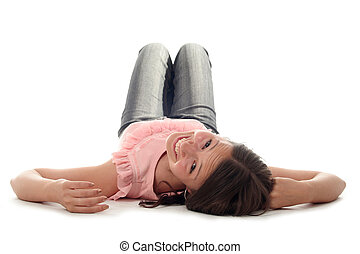 woman lying down - Young woman lying down