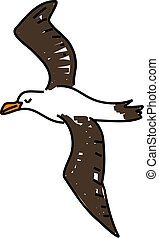 albatross - an albatross bird isolated on white drawn in...