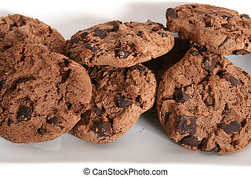 Chocolate Chip Cookies - Close-up of crumbly chocolate chip...