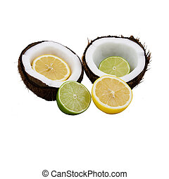 lemon lime coconut - Lemon and lime cut in half placed in...