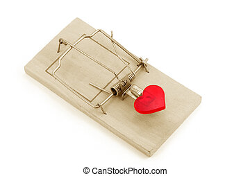 love trap - red heart and Mousetrap, love concept, with...