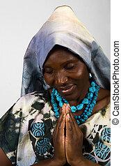 africano, cristão, mulher