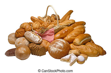 Breads - Assorted composition of breads isolated on white...