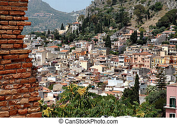 Taormina Sicily - Elevated view of Taormina, Sicily with...