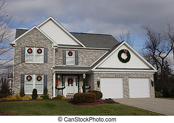Home -Christmas time - New two story brick home at Christmas...