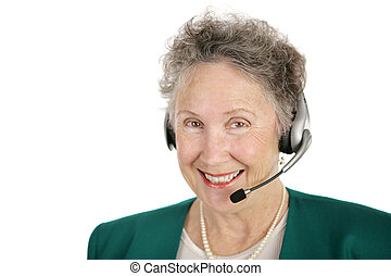 Cheerful Operator - A smiling, cheerful senior lady with a...