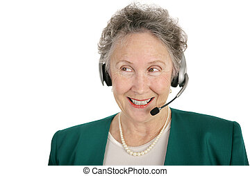 Senior Phone Operator - A pretty senior woman volunteering...