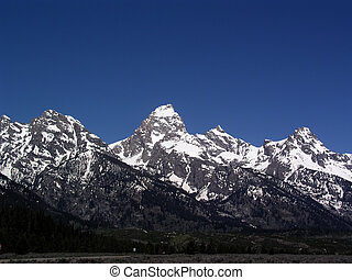 Grand Tetons - Grand Teton Mountains on a bright summer day