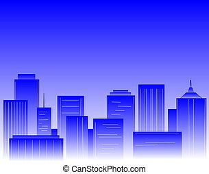 Blue city - Editable vector design of a city skyline