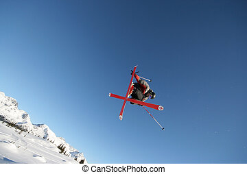 In Flight - A skier shows off his moves in Whistler, BC.