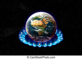 global warming - planet earth over heated on flames - global...