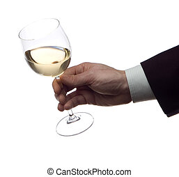 wine - business men with glass of white wine on white