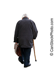 Walking away ... - Old man holding a suitcase walking away -...