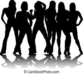 six party girls - Six sexy party girls in black and white...