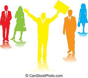 business people pray rainbow
