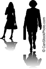 business women - Two business women in black silhouette on a...