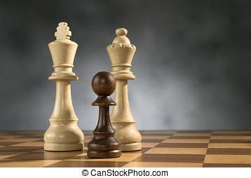madeira, xadrez, Jogo, pedaços