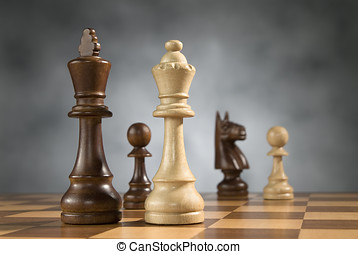 wooden chess game pieces - beautiful wooden chess pieces on...