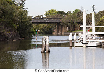 Parramatta River - Parramatta river and ferry wharf