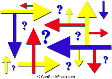 Which Way - A conceptual image of confusion with arrows and...