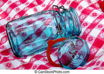 Grandmas Vintage Canning Jar on an Antique Table Cloth -...