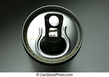 Aluminium can - The aluminium can with drops A close-up, the...