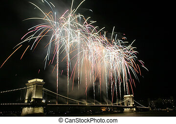 Fireworks from the Lánchíd (Chain Bridge) on the national...