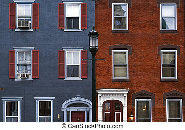 Philadelphia houses - Colored historical houses in...