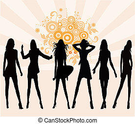 Posing Girls - Silhouette Illustration