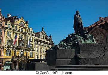 Prague square - Jan Hus monument in Old Town Square, Prague