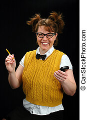 Nerd Girl - Nerd girl with calculator and pencil smiling