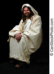 Jesus Sitting - Jesus sitting and smiling over a black...