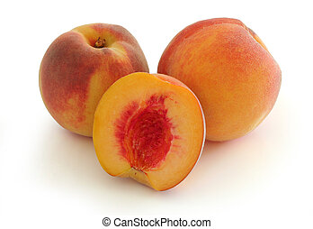 Peaches - Whole and half peach w clipping path
