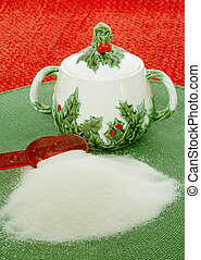 Vintage Christmas Holiday Sugar Bowl sitting on a green...