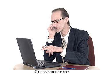Businessman working on laptop - Workaholic, businessman,...