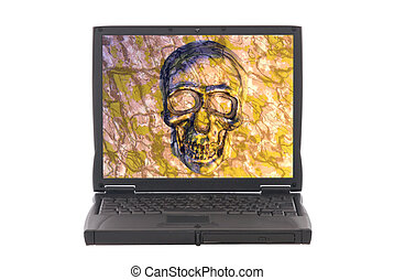 Infected laptop with virus, skull on screen Safety,...