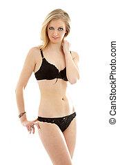 lovely blond in black underwear