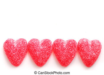 Candy hearts - Sugar candy Valentines hearts isolated on...