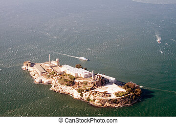 Aerial view of Alcatraz - Bay Area, San Francisco
